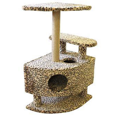 Домик для кошек Пушок, угловой, 57 см х 46 см х 98 смTD 0169Большой, уютный домик с когтеточкой, ступенькой и полочкой отлично подойдет для котят и взрослых кошек. Такой домик станет не только идеальным местом для подвижных игр вашего любимца, но и местом для отдыха. Благодаря столбику-когтеточке, обернутой веревками из сизаля, ваша кошка удовлетворит природную потребность точить когти, что поможет сохранить вашу мебель и ковры. Для приучения любимца к когтеточке можно натереть ее сухой валерьянкой или кошачьей мятой.
