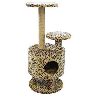Домик для кошек Пушок, круглый, 42 см х 42 см х 98 см0120710Большой, уютный домик с когтеточкой, ступенькой и полочкой отлично подойдет для котят и взрослых кошек. Такой домик станет не только идеальным местом для подвижных игр вашего любимца, но и местом для отдыха. Благодаря столбику-когтеточке, обернутой веревками из сизаля, ваша кошка удовлетворит природную потребность точить когти, что поможет сохранить вашу мебель и ковры. Для приучения любимца к когтеточке можно натереть ее сухой валерьянкой или кошачьей мятой.