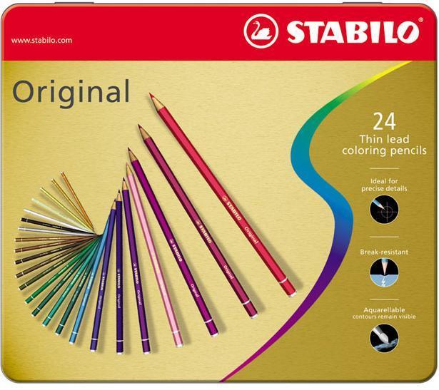 Набор цветных карандашей с тонким грифелем STABILO Original для графиков, художников 24 цв, металлический футляр72523WDВсе творческие натуры хотят иметь в своем распоряжении только лучшее. Представленный STABILO ассортимент и очень широкая палитра цветов способны удовлетворить самые разные потребности сторонников всевозможных иехник рисования. Высококачественные, насыщенные красители гарантируют тонкую проработку цвета. все карандаши обеспечивают легкую смешиваемость красок, мягкие, однородные по цвету линии. Высокая степень пигментации гарантирует особую яркость цвета и исключительную покрывающую способность даже на темном фоне, а также высокую устойчивость к свету. Краски STABILO не блекнут со временем. Светоустойчивость карандашей обозначается различным количеством звездочек на корпусе: от 5 звездочек - высокая степень светоустойчивости до 1 звездочки - достаточная светоустойчивость.