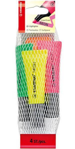 Текстовыделитель STABILO NEON 4шт в сетке-блистере, цвет: желтый, зеленый, оранжевый, розовый.72/4-1Единственный текстовыделитель, выполненный в форме тюбика. Высокое качество, оригинальный дизайн, отличные функциональные характеристики. Текстовыделитель четыре часа сохраняет работоспособность без колпачка и отличается особой яркостью и флуоресцентностью цвета. Чернила на водной основе мгновенно высыхают на бумаге, не пропитывая ее и не смазывая текст, не имеют запаха. Прочный износостойкий наконечник обеспечивает постоянство толщины линии на протяжении всего срока службы. Толщина линии 2-5 мм.