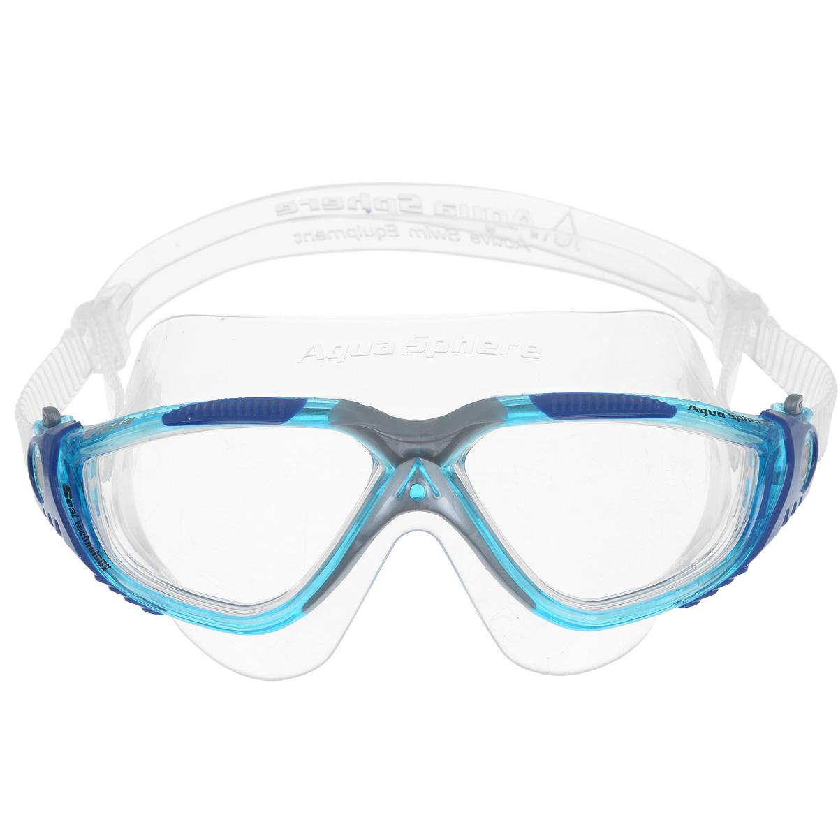 Очки для плавания Aqua Sphere Vista, цвет: аквамарин, синийJ504N-9093Очки Aqua Sphere Vista имеют исключительно малую парусность, что минимизирует вероятность их сползания во время плавания. Кристально прозрачные полукруглые линзы обеспечивают обзор 180°. Очки дают 100% защиту от ультрафиолетового излучения. Специальное покрытие препятствует запотеванию стекол.Материал: силикон, plexisol.