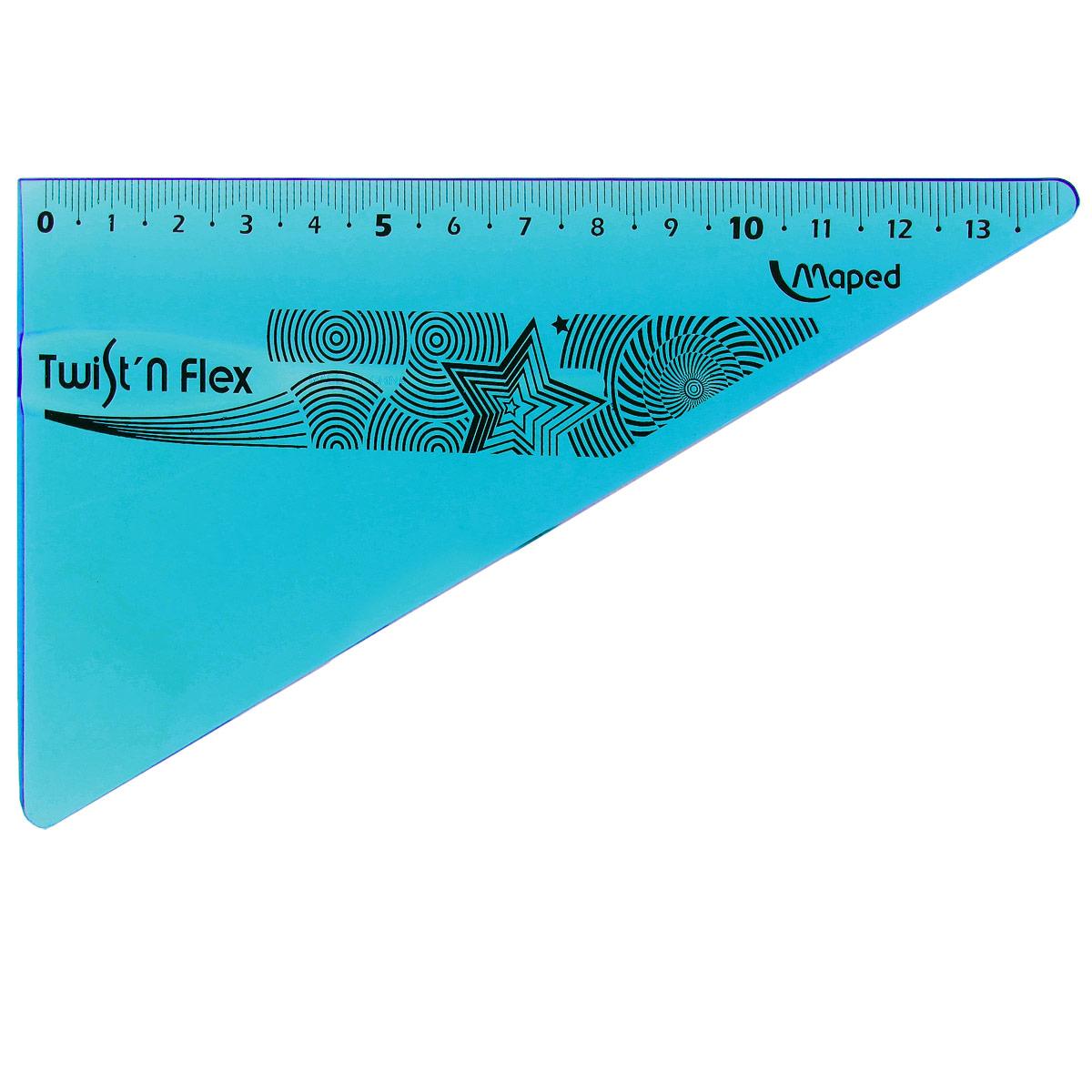 Угольник Maped Twist-n-Flex, неломающийся, 14 см, цвет: синий72523WDГибкий неломающийся угольник Maped - это не только необходимый в учебе предмет, но и легкий способ привлечь ребенка к процессу обучения. Выполнен из прозрачного цветного пластика с ровной четкой миллиметровой шкалой делений до 14 см.Характеристики:Длина: 14 см.Угол: 60 градусов. Характеристики:Длина: 14 см. Угол: 60 градусов.
