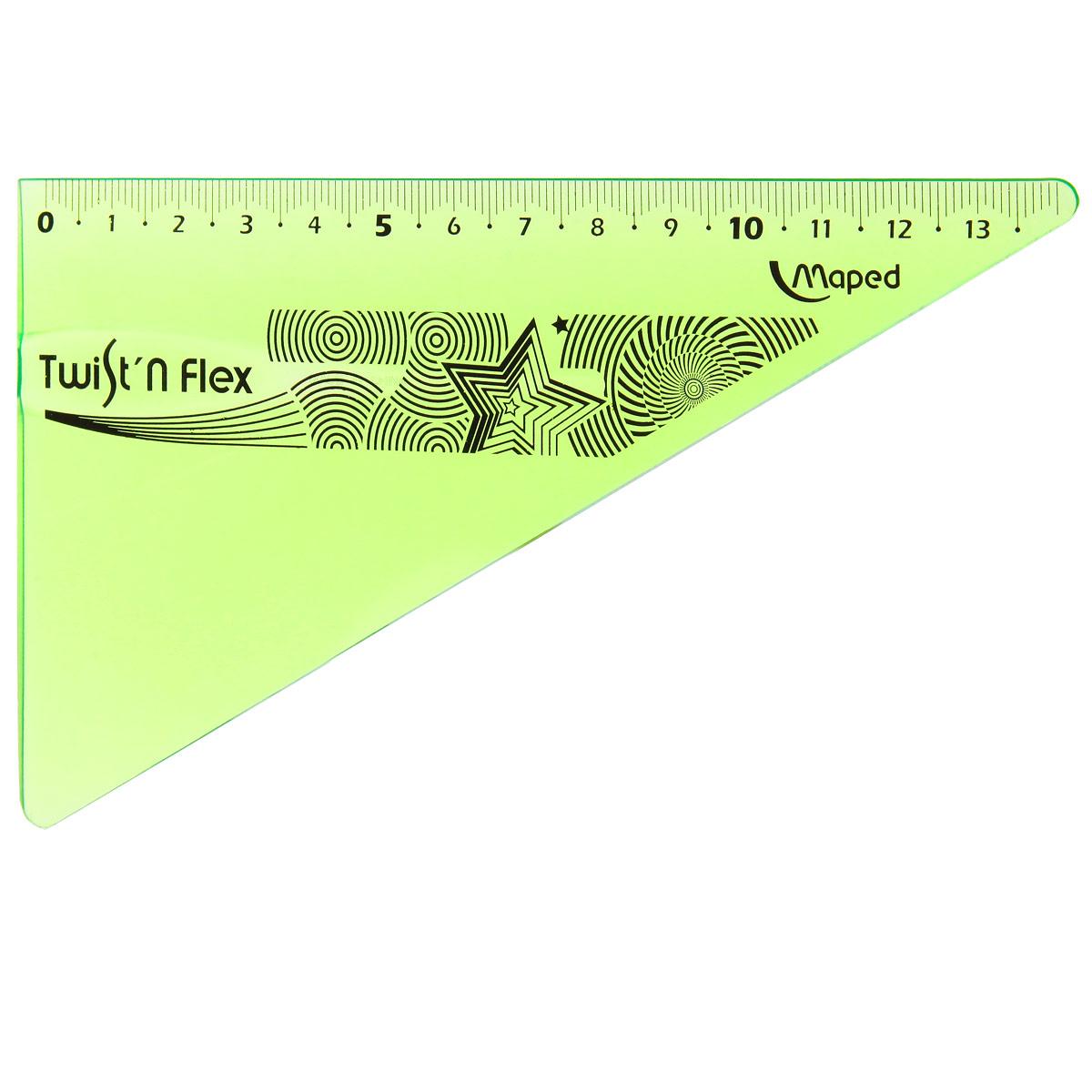 Угольник Maped Twist-n-Flex, неломающийся, 14 см, цвет: салатовыйPP-220Гибкий неломающийся угольник Maped - это не только необходимый в учебе предмет, но и легкий способ привлечь ребенка к процессу обучения. Выполнен из прозрачного цветного пластика с ровной четкой миллиметровой шкалой делений до 14 см.Характеристики:Длина: 14 см.Угол: 60 градусов.