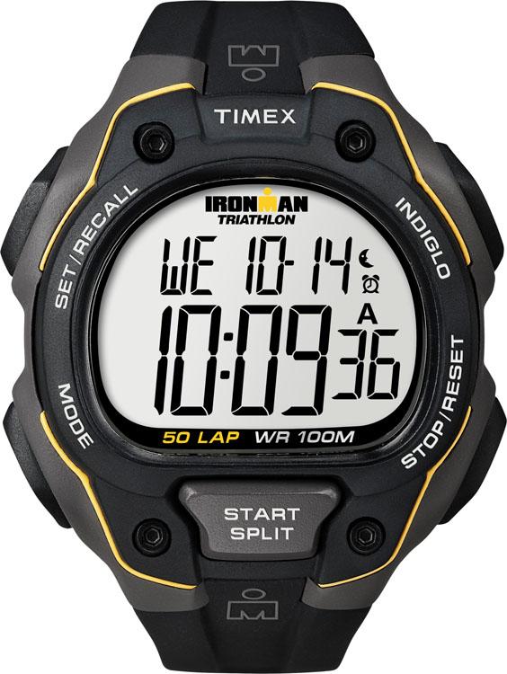 Часы наручные мужские Timex Ironman, цвет: черный, серый. T5K494INT-06501Стильные мужские наручные часы Timex Ironman - это выбор стильных и активных людей. Корпус выполнен из прочного пластика. Изделие имеет электронный циферблат.Часы оснащены кварцевым механизмом, устойчивым к царапинам пластиковым стеклом и подсветкой циферблата Indiglo. Также часы оснащены будильником, индикатором дня, месяца и дня недели, сплит-хронографом на 100 часов, с памятью на 50 кругов, 99 позициями счетчика, 24-х часовым таймером с автоповтором и 2 интервалами. Имеется также функция отображения двух часовых поясов, записи показаний по дате, среднего и лучшего времени, встроенная система напоминаний. Модель обладает степенью влагозащиты 10 atm. Изделие дополнено ремешком из каучука, позволяющим максимально комфортно и быстро снимать и одевать часы при помощи пряжки. Часы поставляются в фирменной коробке. Современный дизайн в спортивном стиле отлично дополнит вашу утреннюю пробежку, а надежность и чувство комфорта сделает ее просто незабываемой.