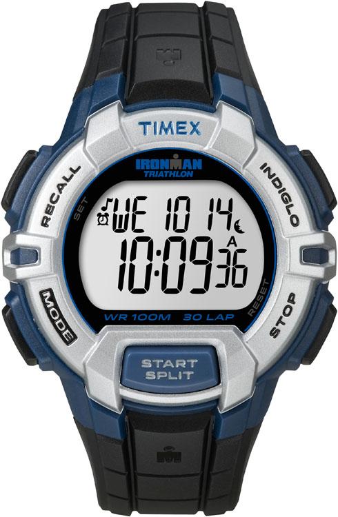 Часы наручные мужские Timex Ironman 30, цвет: черный, серый, синий. T5K791INT-06501Стильные мужские наручные часы Timex Ironman 30 - это выбор стильных и активных людей. Корпус выполнен из прочного пластика. Изделие имеет электронный циферблат.Часы оснащены кварцевым механизмом, устойчивым к царапинам пластиковым стеклом и подсветкой циферблата Indiglo. Также часы оснащены индикатором дня, месяца и дня недели, сплит-хронографом на 100 часов, с памятью на 30 кругов, 99 позициями счетчика, таймером обратного отсчета до 24 часов. Имеется функция отображения 3 часовых поясов и встроенная система напоминаний. Модель обладает степенью влагозащиты 10 atm. Изделие дополнено ярким ремешком из каучука, позволяющим максимально комфортно и быстро снимать и одевать часы при помощи пряжки. Часы поставляются в фирменной коробке. Функциональные часы станут отличным дополнением вашего образа.