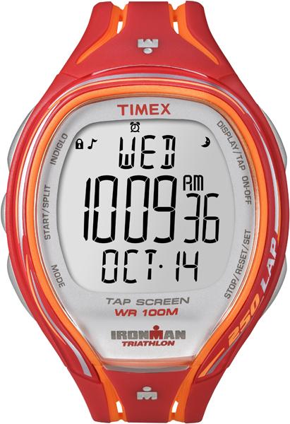 Часы наручные мужские Timex Ironman Sleek 250, цвет: красный, оранжевый. T5K788BM8434-58AEЯркие мужские наручные часы Timex Ironman Sleek 250 предназначены для активных людей. Корпус изделия выполнен из прочного пластика. Часы оснащены кварцевым механизмом и электронным циферблатом. Акриловое стекло устойчиво к царапинам. Часы оснащены функцией отображения текущего числа, месяца, дня недели, второго часового пояса, секундомером и будильником.Модель оснащена сплит-хронографом на 100 часов, с памятью на 250 кругов, 8 маркированных интервальных таймеров, с понятными обозначениями - warm (разогрев), slow (медленный), med (средний), fast (быстрый) и cool (остывание). Функция TapScreen позволяет при простом касании стекла отмечать отрезки. Часы имеют встроенную систему напоминаний, память на 5 тренировок и подсветку Indiglo.Модель обладает степенью влагозащиты 100 atm. Изделие дополнено ремешком из силикона, позволяющим максимально комфортно и быстро снимать и одевать часы при помощи пряжки. Часы поставляются в фирменной коробке. Стильный и яркий молодежный аксессуар зарядит положительными эмоциями и добавит энергии на весь день.