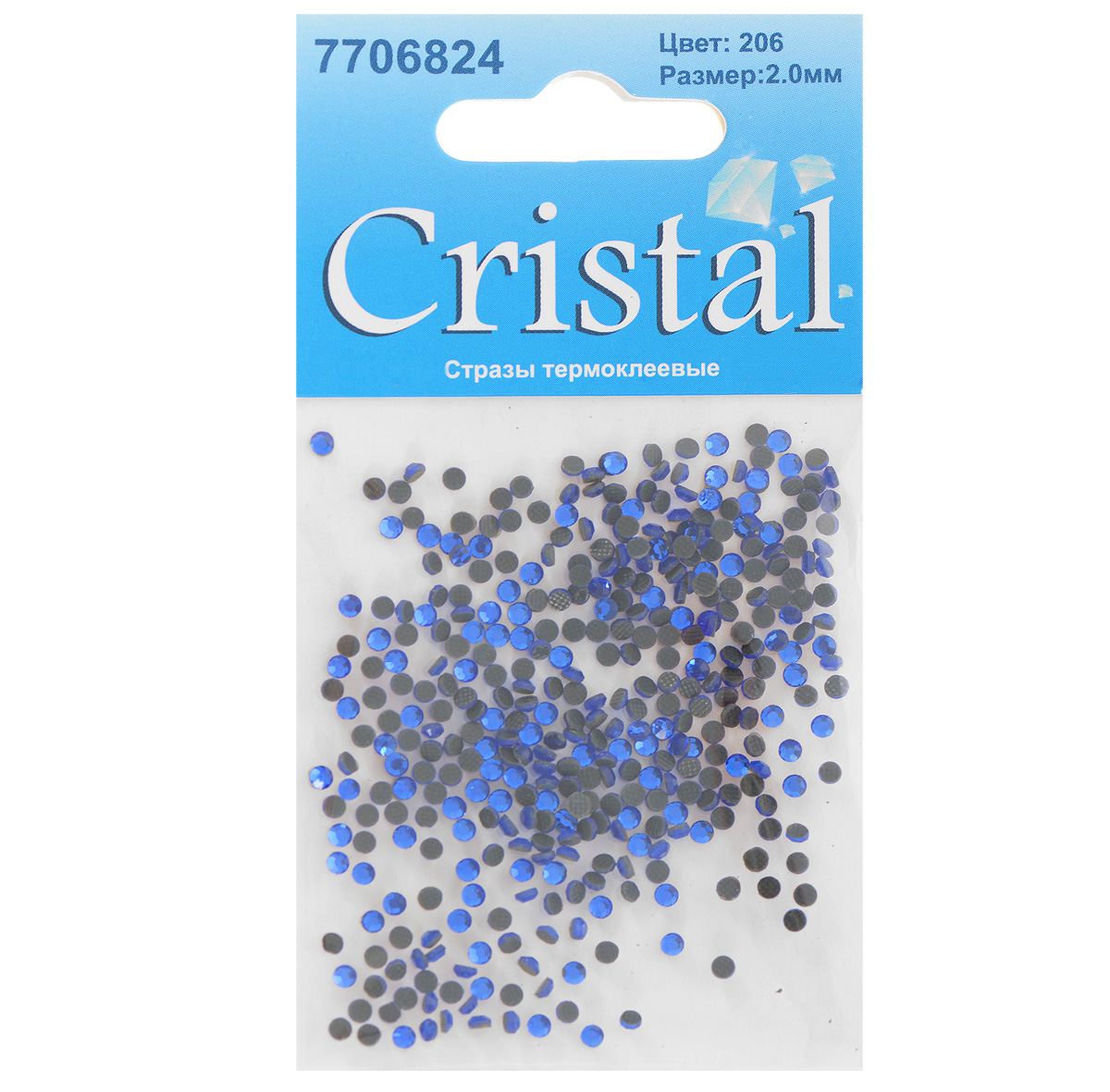 Стразы термоклеевые Cristal, цвет: синий (206), диаметр 2 мм, 432 штNN-612-LS-PLНабор термоклеевых страз Cristal, изготовленный из высококачественного акрила, позволит вам украсить одежду, аксессуары или текстиль. Яркие стразы имеют плоское дно и круглую поверхность с гранями.Дно термоклеевых страз уже обработано особым клеем, который под воздействием высоких температур начинает плавиться, приклеиваясь, таким образом, к требуемой поверхности. Чаще всего их используют в текстильной промышленности: стразы прикладывают к ткани и проглаживают утюгом с обратной стороны. Также можно использовать специальный паяльник. Украшение стразами поможет сделать любую вещь оригинальной и неповторимой. Диаметр страз: 2 мм.