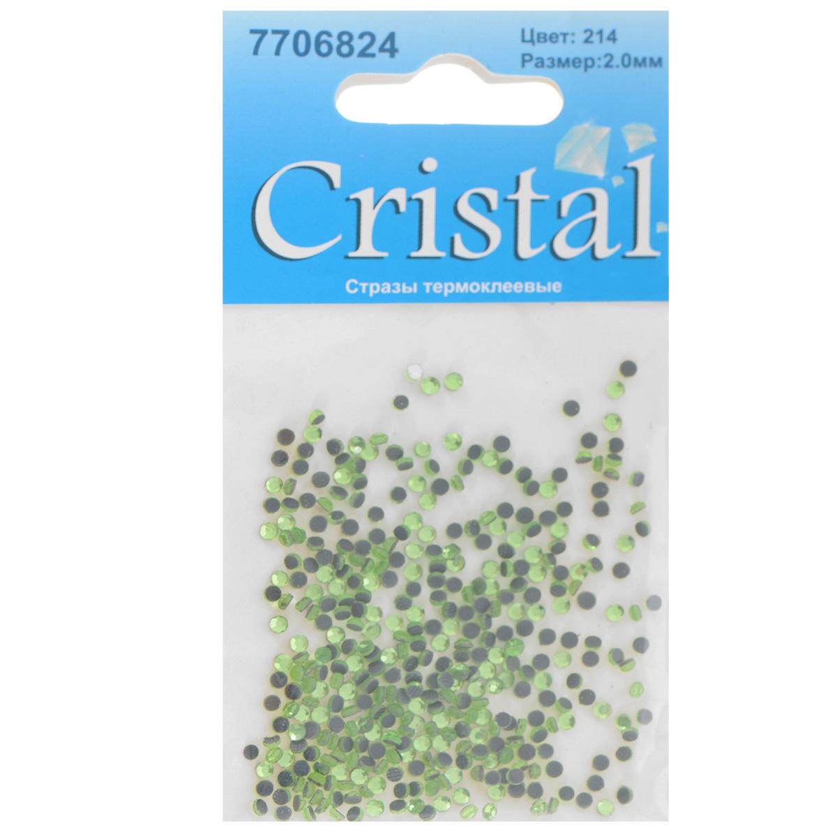 Стразы термоклеевые Cristal, цвет: светло-зеленый (214), диаметр 2 мм, 432 штBRT.GBНабор термоклеевых страз Cristal, изготовленный из высококачественного акрила, позволит вам украсить одежду, аксессуары или текстиль. Яркие стразы имеют плоское дно и круглую поверхность с гранями.Дно термоклеевых страз уже обработано особым клеем, который под воздействием высоких температур начинает плавиться, приклеиваясь, таким образом, к требуемой поверхности. Чаще всего их используют в текстильной промышленности: стразы прикладывают к ткани и проглаживают утюгом с обратной стороны. Также можно использовать специальный паяльник. Украшение стразами поможет сделать любую вещь оригинальной и неповторимой. Диаметр страз: 2 мм.