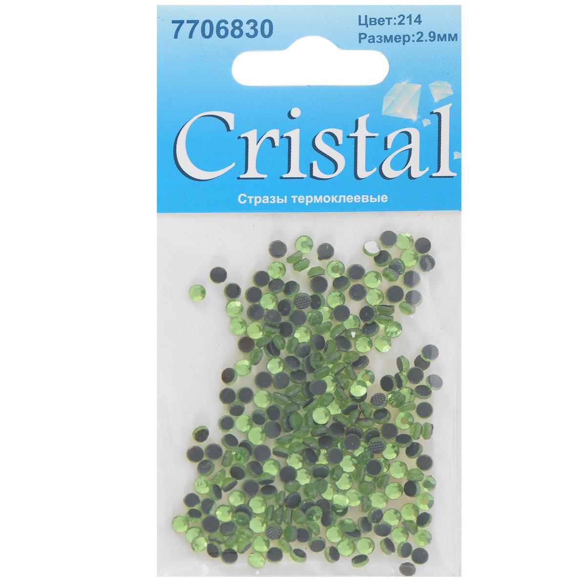 Стразы термоклеевые Cristal, цвет: светло-зеленый (214), диаметр 2,9 мм, 288 шт55052Набор термоклеевых страз Cristal, изготовленный из высококачественного акрила, позволит вам украсить одежду, аксессуары или текстиль. Яркие стразы имеют плоское дно и круглую поверхность с гранями.Дно термоклеевых страз уже обработано особым клеем, который под воздействием высоких температур начинает плавиться, приклеиваясь, таким образом, к требуемой поверхности. Чаще всего их используют в текстильной промышленности: стразы прикладывают к ткани и проглаживают утюгом с обратной стороны. Также можно использовать специальный паяльник. Украшение стразами поможет сделать любую вещь оригинальной и неповторимой. Диаметр страз: 2,9 мм.