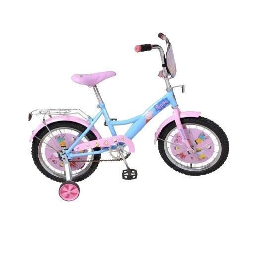 Велосипед детский Navigator Peppa Pig Blue-PinkВН14137Велосипедс ярким дизайном и популярной лицензией Peppa Pig, передняя и задняя корзина, мишура на ручках, втавки в колесах, страховочные колеса.Отличный Выбор для Вашего малыша