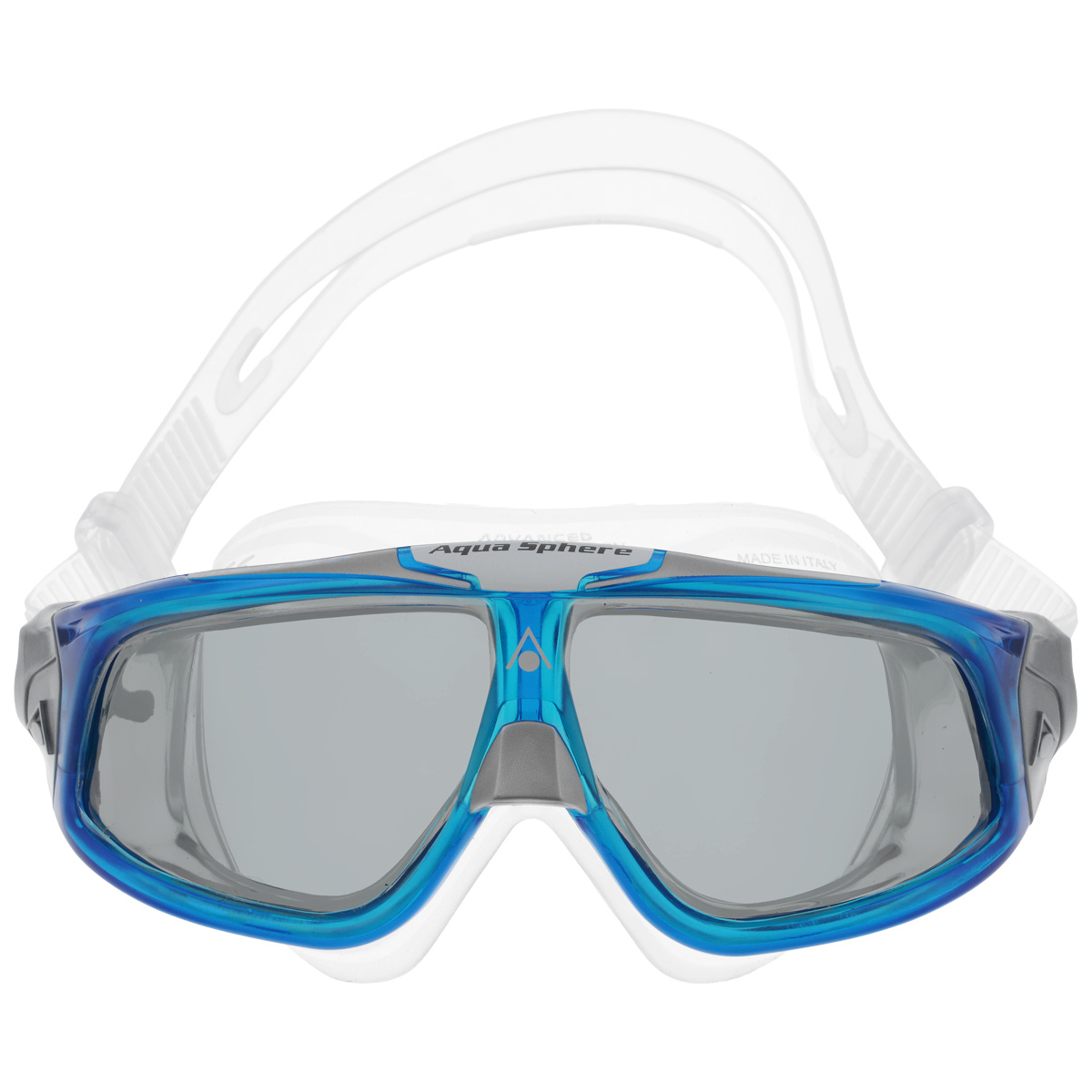 Очки для плавания Aqua Sphere Seal 2.0, цвет: прозрачный, синий527Aqua Sphere Seal 2.0 являются идеальными очками для тех, кто пользуется контактными линзами, так как они обеспечивают высокий уровень защиты глаз от внешних раздражителей, бактерий, соли и хлора.Особая форма линз обеспечивает панорамный обзор 180°. Очки дают 100% защиту от ультрафиолетового излучения. Специальное покрытие препятствует запотеванию стекол.Материал: силикон, plexisol.