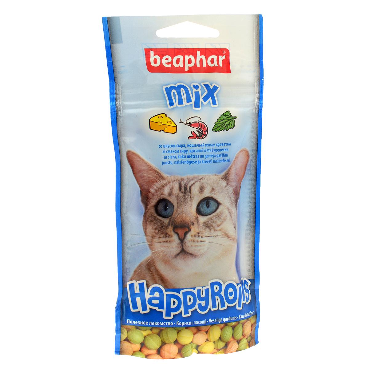 Лакомство для кошек Beaphar Happy Rolls Mix, цвет: синий, 80 шт0120710Лакомство Beaphar Happy Rolls Mix с креветками, сыром и кошачьей мятой для кошек очень вкусно и полезно. Оно содержит витамины, минералы и микроэлементы. Улучшает настроение, а также помогает уберечь кошку от стрессов. Применяется в качестве лакомства для кошек, начиная с 6-месячного возраста. Состав: молоко и молочные продукты, сахар, минералы, мясо и мясопродукты (более 4% ливер), рыба и рыбопродукты (более 4% креветок). Анализ: протеин (8,8%), жиры (2,8%), клетчатка (7,4%), зола (12,8%), влага (4,7%), кальций (1,8%), фосфор (1,3%), натрий (0,2%).Добавки: микрокристаллическая целлюлоза Е 460, стеарат кальция E 470. Количество в упаковке: 80 шт. Товар сертифицирован.