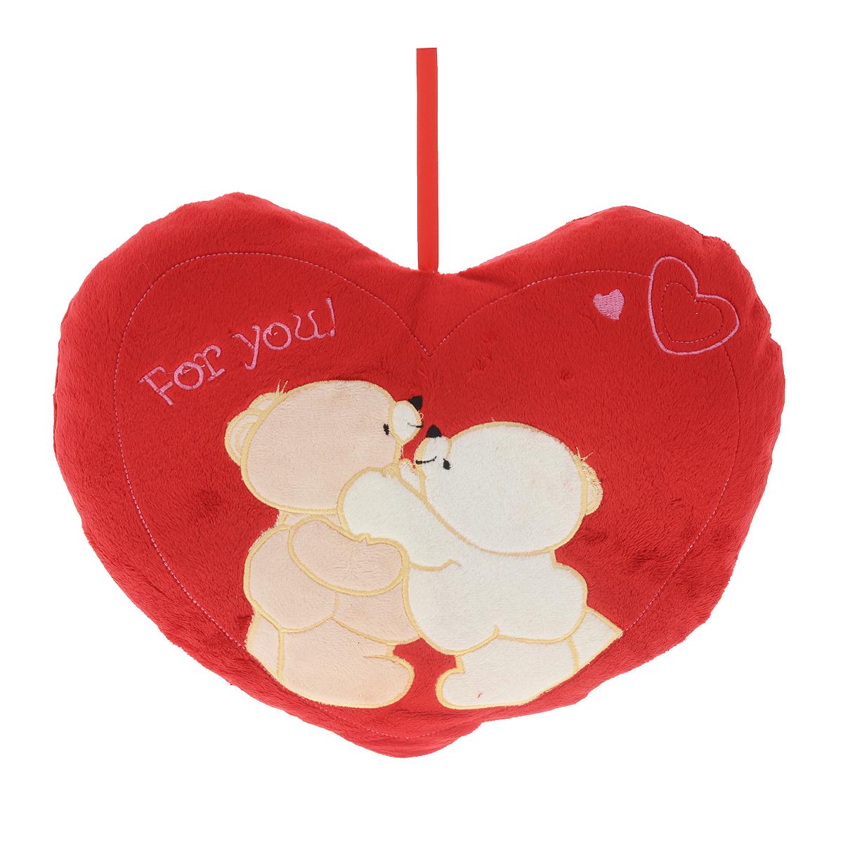 Подушка декоративная Сердце-3, мишкиCLP446Декоративная подушка Сердце-3 выполнена из искусственного меха красного цвета и украшена аппликацией. Петля в верхней части позволит повесить подушку в удобном для вас месте.Такая подушка будет прекрасным подарком вашим родным и друзьям.