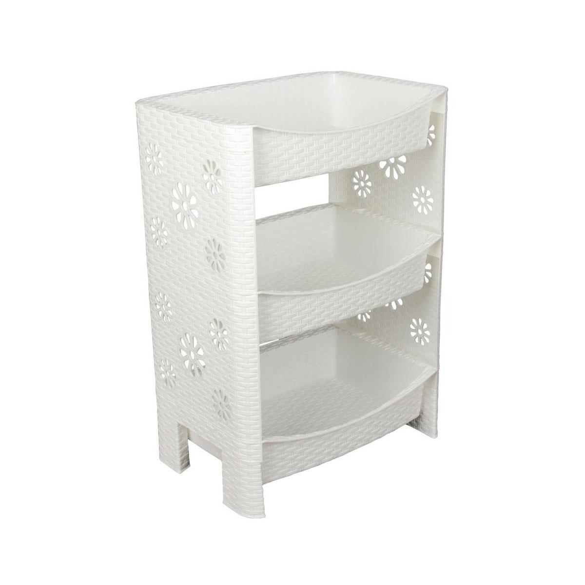 Этажерка Альтернатива Плетенка, 3-х секционная, цвет: белый, 30 х 45 х 64 см74-0140Этажерка Альтернатива Плетенка выполнена из высококачественного прочного пластика и предназначена для хранения различных предметов. Изделие имеет 3 полки прямоугольной формы. В ванной комнате вы можете использовать этажерку для хранения шампуней, гелей, жидкого мыла, стиральных порошков, полотенец и т.д. Ручной инструмент и детали в вашем гараже всегда будут под рукой. Удобно ставить банки с краской, бутылки с растворителем. В гостиной этажерка позволит удобно хранить под рукой книги, журналы, газеты. С помощью этажерки также легко навести порядок в детской, она позволит удобно и компактно хранить игрушки, письменные принадлежности и учебники. Этажерка - это идеальное решение для любого помещения. Она поможет поддерживать чистоту, компактно организовать пространство и хранить вещи в порядке, а стильный дизайн сделает этажерку ярким украшением интерьера.