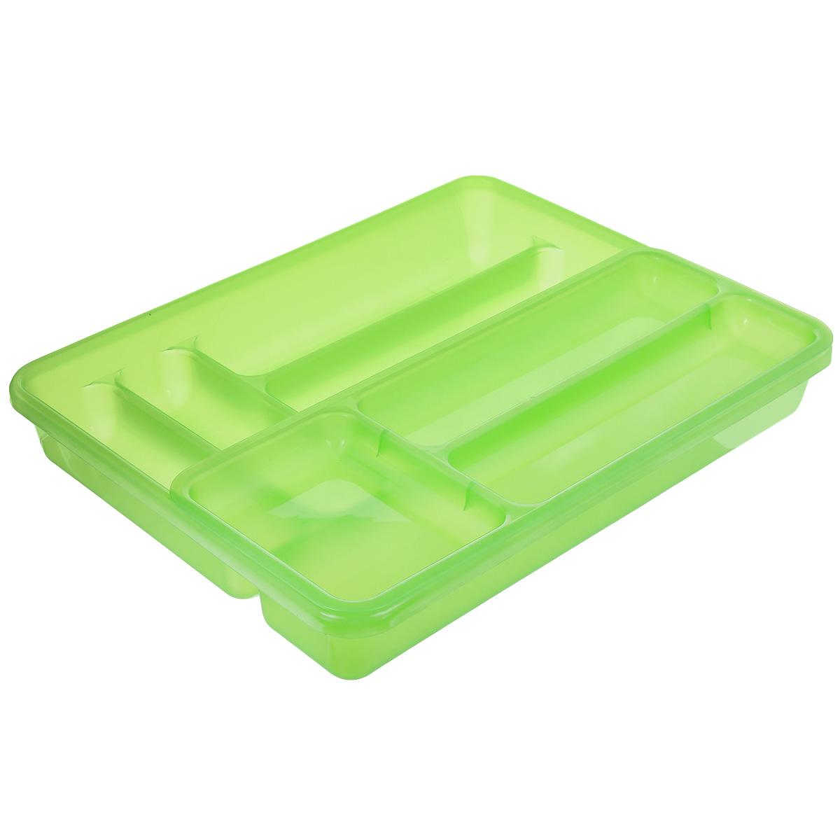 Лоток для столовых приборов Cosmoplast, двойной, цвет: зеленый, 40 х 30 смВетерок 2ГФЛоток для столовых приборов Cosmoplast изготовлен из пластика. Изделие имеет 3 одинаковых секции для столовых ложек, вилок и ножей, 2 секции для чайных ложек и других мелких столовых приборов и длинную секцию для различных кухонных принадлежностей. Лоток оснащен съемным отделением с 3 дополнительными секциями. Помещается в любой кухонный ящик.