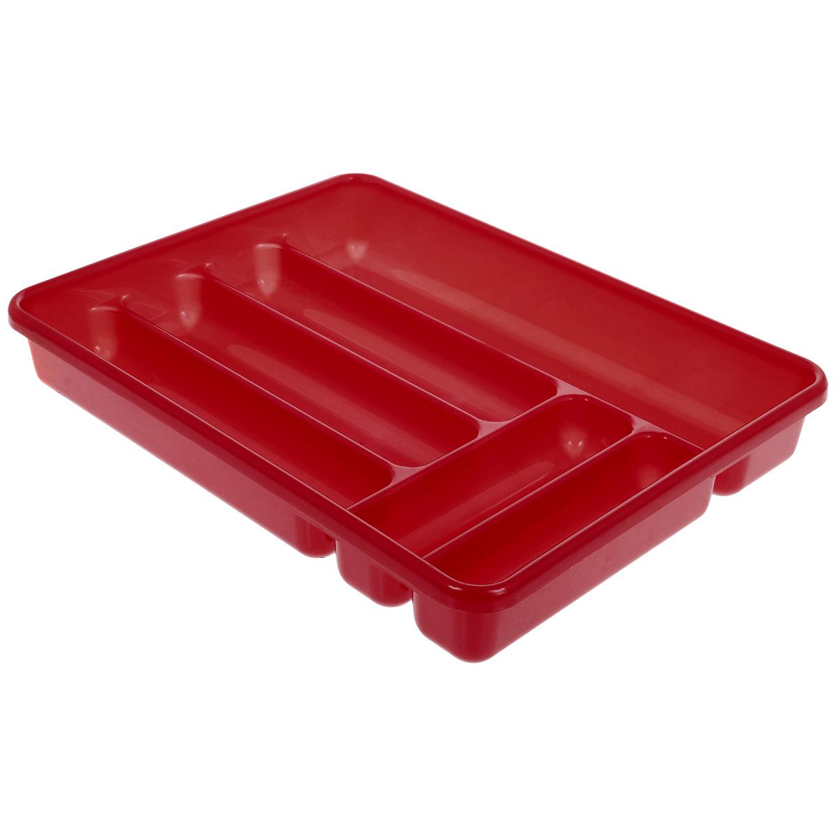 Лоток для столовых приборов Cosmoplast, цвет: красный, 6 отделений2142 красныйЛоток для столовых приборов Cosmoplast изготовлен из высококачественного пищевого пластика. Он предназначен для выдвигающихся ящиков на кухне. Лоток имеет шесть отделений: три отделения для вилок, ложек, ножей, два малых отделения для чайных ложек и десертных вилок, одно большое отделение для остальных приборов.Размер большого отделения: 38,5 см х 8 см.Размер средних отделений: 27 см х 6,5 см.Размер маленьких отделений: 20 см х 5 см.