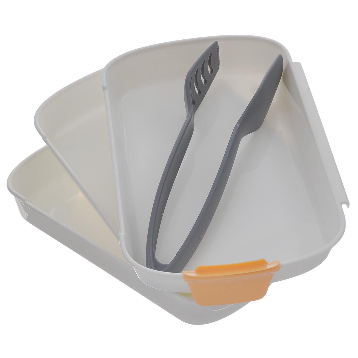 Набор для тройного кляра Tescoma Presto54 009312Набор Tescoma Presto предназначен для панирования мяса, рыбы, сыра, грибов и овощей в сухарях или тесте.Три блюда с противоскользящей поверхностью, которые соединены вместе, отлично подходят для погружения продуктов в муку, а затем покрытия их взбитым яйцом и панировочными сухарями.Щипцы из термостойкого нейлона.Поставляется с лезвием для легкого разбивания яиц.Подходит для холодильника, морозильной камеры, микроволновой печи и посудомоечной машины.В комплекте рецепты. Размер блюд: 25,5 см х 17 см х 3,5 см.Длина щипцов: 23,5 см.