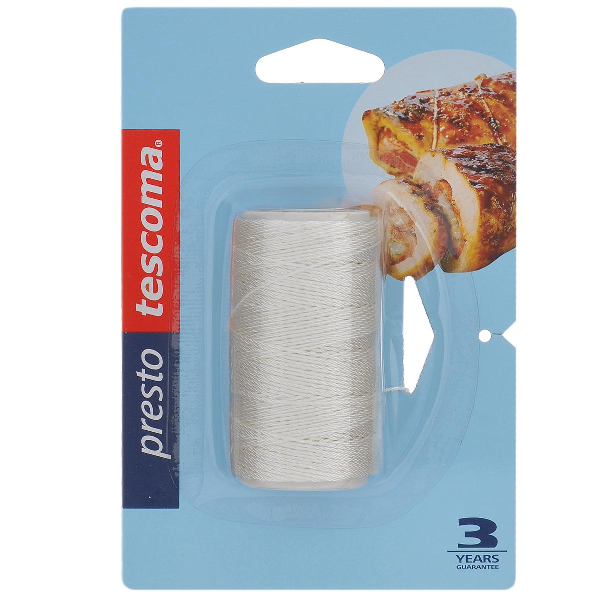 Веревка для выпечки Tescoma Presto, 40 м115510Веревка Tescoma Presto отлично подходит для связывания мясных рулетов, птицы, овощей, выпечки, жарки, варки и обрабатывания паром. Изготовлена из прочного волокна, выдерживает температуру до 250°C, подходит для всех типов печей, в том числе СВЧ.