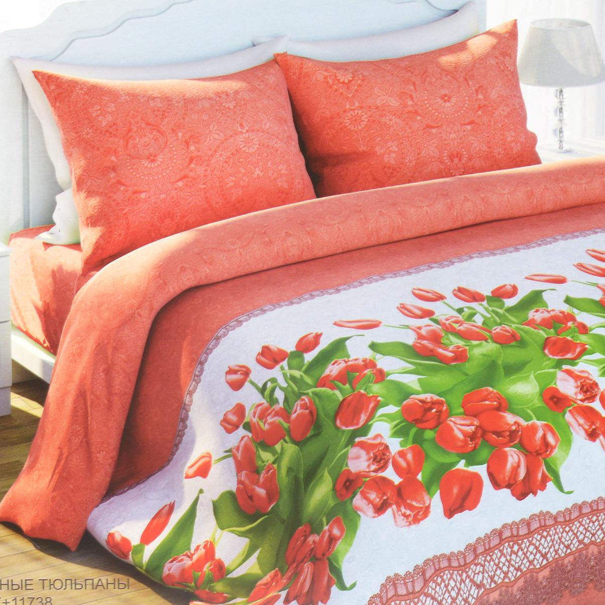 Комплект белья Любимый дом Красные тюльпаны, 1,5-спальный, наволочки 70х70CA-3505Комплект постельного белья Любимый дом Красные тюльпаны состоит из пододеяльника, простыни и двух наволочек. Дизайн - яркие сочные тюльпаны в сочетании с оригинальным орнаментом. Белье изготовлено из новой ткани Биокомфорт, отвечающей всем необходимым нормативным стандартам. Биокомфорт - это ткань полотняного переплетения, из экологически чистого и натурального 100% хлопка. Неоспоримым плюсом белья из такой ткани является мягкость и легкость, она прекрасно пропускает воздух, приятна на ощупь, не образует катышков на поверхности и за ней легко ухаживать. При соблюдении рекомендаций по уходу, это белье выдерживает много стирок, не линяет и не теряет свою первоначальную прочность. Уникальная ткань обеспечивает легкую глажку.