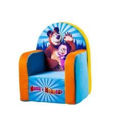 СмолТойс Мягкая игрушка Кресло с музыкальным элементом Маша и Медведь цвет голубой