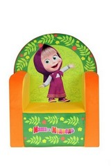 СмолТойс Мягкая игрушка Кресло с музыкальным элементом Маша и Медведь цвет желтый