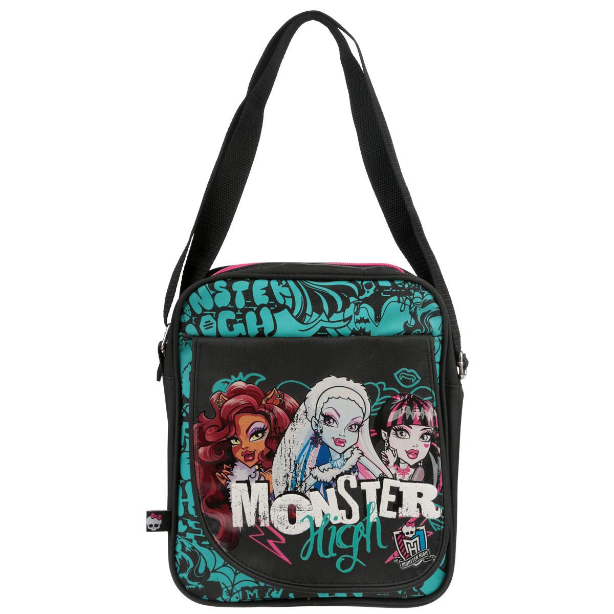 Сумка Monster High, цвет: черный, бирюзовый. MHBA-UT1-5336SMAB-RT2-568Сумка через плечо - это не только очень практичный, но еще и невероятно модный аксессуар. С сумкой Monster High удобно отправиться на прогулку, учебу или в поход по магазинам. Сумка способна вместить ультрамодные гаджеты, документы, и школьные принадлежности. Основное вместительное отделение закрывается на молнию, на фронтальной части изделия дополнительный карман с клапаном на липучке, а внутри прорезной карман на молнии для мелких предметов. Внутренняя отделка выполнена качественной подкладочной тканью. Лямка свободно регулируется по длине, обеспечивая комфорт. А яркий и стильный дизайн отлично дополнит ваш образ.