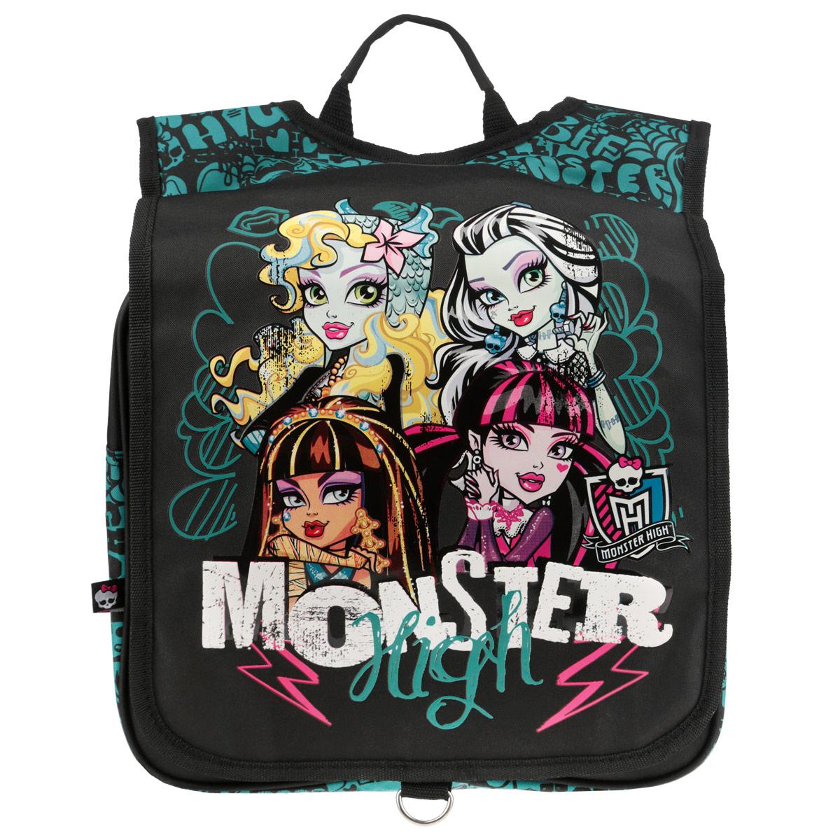 Рюкзак Monster High, цвет: черный, бирюзовый. MHBA-UT1-38272523WDРюкзак Monster Highвыполнен из прочного полиэстера черного цвета и оформлен изображением героинь Monster High.Рюкзак состоит из одного вместительного отделения, застегивающегося на застежку-молнию. Сверху имеется накидной клапан на липучке.Рюкзак оснащен широкими мягкими лямками, регулируемыми по длине, которые равномерно распределяют нагрузку на плечевой пояс, и удобной ручкой для переноски в руке.