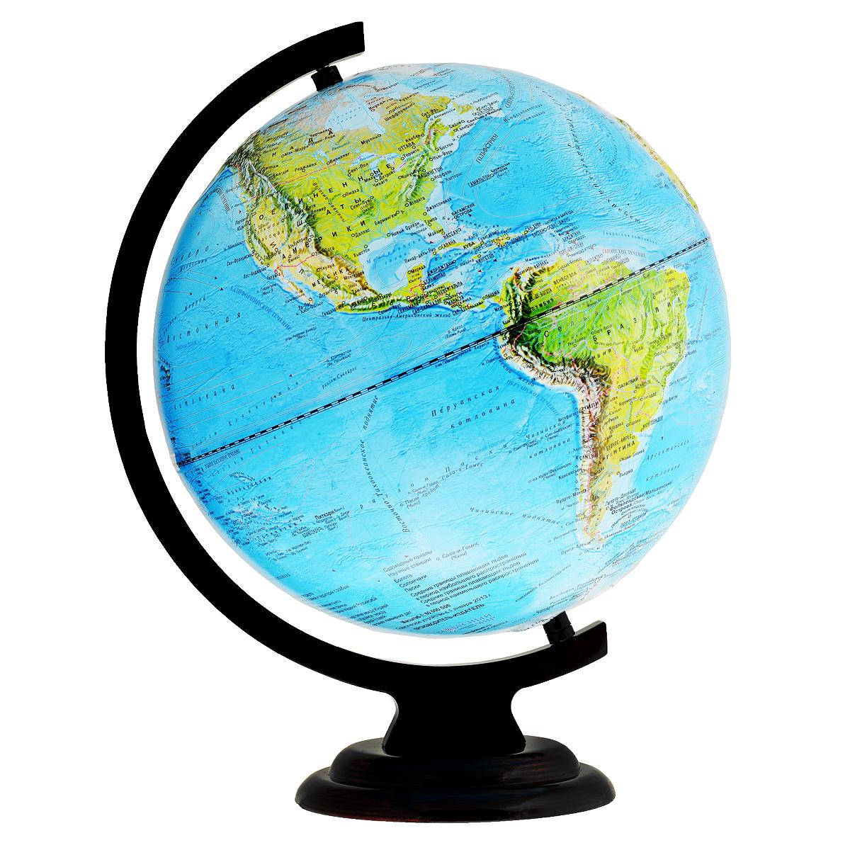 Глобус настольный, рельефный, с физической картой мира, диаметр 32 см. 1024610246Глобус физический рельефный изготовленный из высококачественного прочного пластика, показывает географические особенности нашей планеты Земля: горы, леса, пустыни, долины. Изделие расположено на деревянной подставке. На нем отображены картографические линии: гидрографическая сеть, элементы почвенно-растительного покрова, крупнейшие населенные пункты, теплые и холодные течения, рельефы морского дна и суши. Горы и возвышенности на поверхности рельефно выделены. Глобус с физической картой мира станет незаменимым атрибутом обучения не только школьника, но и студента. Все названия на глобусе приведены на русском языке. Ничто так не обеспечивает всестороннего и детального изучения устройства мира в таком сжатом и объемном образе, как физический глобус. Сделайте первый шаг в стимулирование своего обучения! Масштаб: 1:40 000 000.