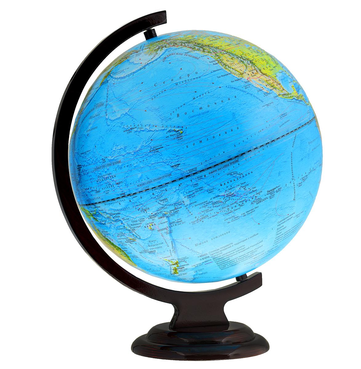 Глобус настольный, с физической картой мира диаметр 32 см. 10245Ке012500189Глобус физический изготовленный из высококачественного прочного пластика, показывает географические особенности нашей планеты Земля: горы, леса, пустыни, долины. Изделие расположено на деревянной подставке. На нем отображены картографические линии: параллели и меридианы, рельефы морского дна и суши. Глобус с физической картой мира станет незаменимым атрибутом обучения не только школьника, но и студента. Все названия на глобусе приведены на русском языке. Ничто так не обеспечивает всестороннего и детального изучения устройства мира в таком сжатом и объемном образе, как физический глобус. Сделайте первый шаг в стимулирование своего обучения!Масштаб: 1:40 000 000.
