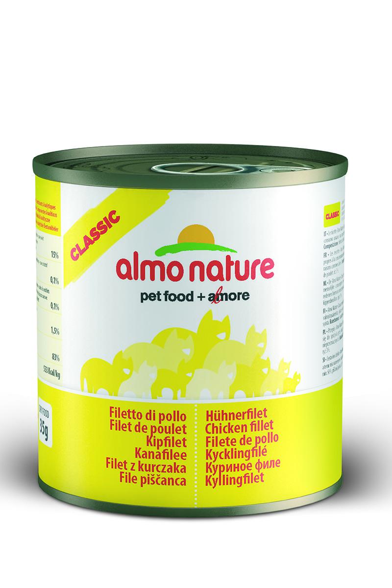 Консервы для кошек Almo Nature Classic, с куриным филе, 280 г0120710Консервы Almo Nature Classic - это супер-премиум корм для кошек в банке с ключом, которая сохраняет свежесть каждого кусочка. Корм изготовлен только из свежих высококачественных натуральных ингредиентов, что обеспечивает здоровье вашей кошки. Не содержит ГМО, антибиотиков, химических добавок, консервантов и красителей.Товар сертифицирован.