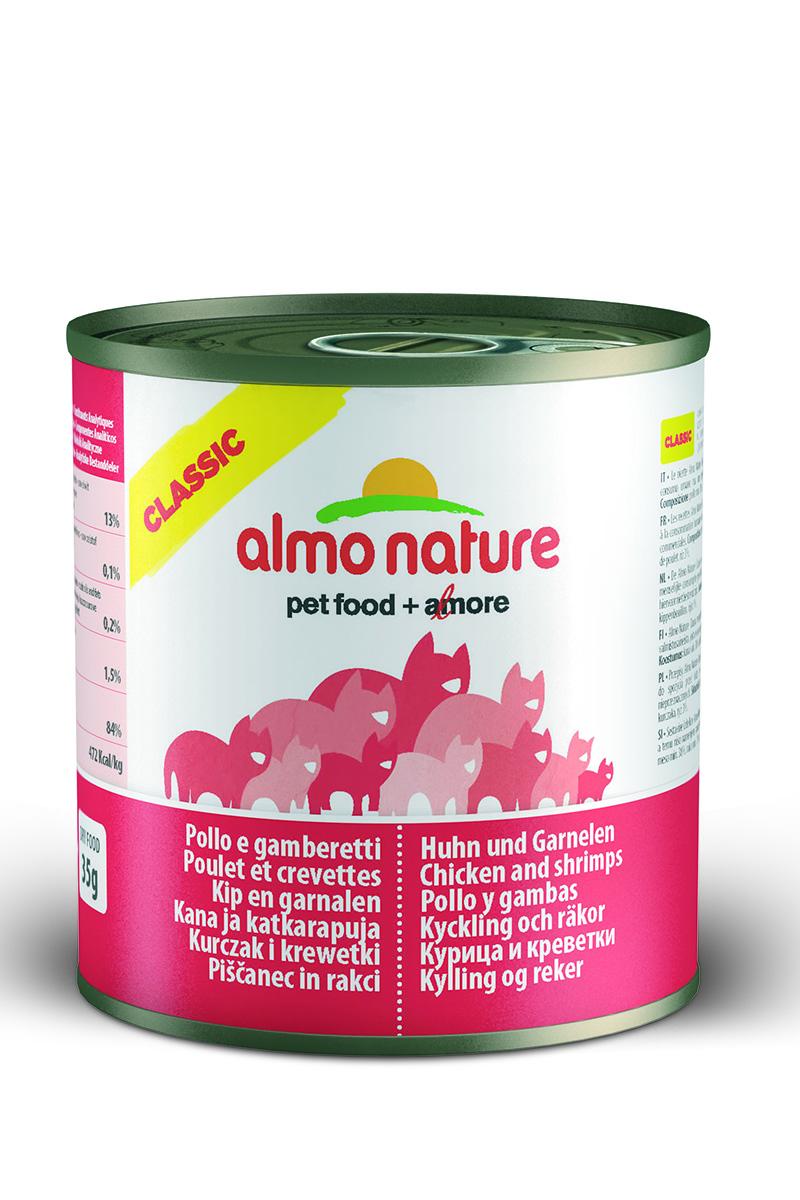 Консервы для кошек Almo Natureс Classic, с курицей и креветками, 280 г0120710Консервы Almo Nature Classic - сбалансированный влажный корм для кошек, изготовленный из ингредиентов высшего качества, являющихся натуральными источниками витаминов и питательных веществ. Состав: курица 38%, креветки 12%, бульон, рис 3%. Пищевая ценность: белки 13%, клетчатка 0,1%, масла и жиры 0,2%, зола 1,5%, влажность 84%. Калорийность: 472 ккал/кг.Товар сертифицирован.