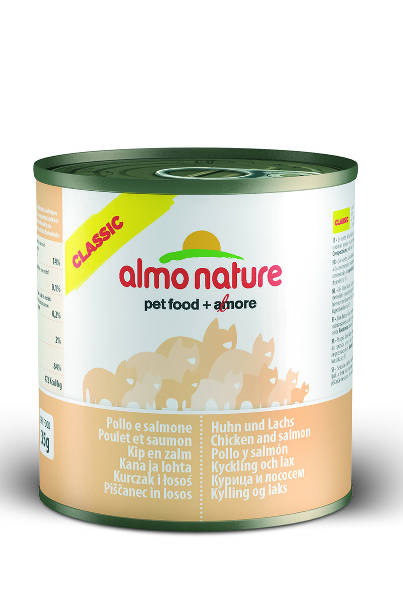 Консервы для кошек Almo Nature Classic, с курицей и лососем, 280 г20069Almo Nature- высококачественный консервированный корм, приготовленный по уникальной рецептуре. Корм содержит высококачественное мясо и рыбу, приготовленные в собственном бульоне. Бережная обработка продуктов без добавления химических или каких-либо других ингредиентов позволяет сохранить питательную ценность и первоначальный вкус.Особенности:- входящие в состав мясные ингредиенты соответствуют стандарту Human Grade (качество как для людей);- превосходный аромат и восхитительный вкус;- высокая питательная ценность;- является натуральным источником воды и питательных веществ;- корм не содержит субпродукты, ГМО, антибиотиков, химических добавок, консервантов и красителей.Состав: куриное филе 38%, куриный бульон, лосось 12%, рис 3%.Гарантированный анализ: белки - 14%, клетчатка - 0,1%, масла и жиры - 0,5%, зола - 2%, влажность - 84%.Калорийность: 460 ккал/кг.Товар сертифицирован.Уважаемые клиенты!Обращаем ваше внимание на возможные изменения в дизайне упаковки. Качественные характеристики товара остаются неизменными. Поставка осуществляется в зависимости от наличия на складе.