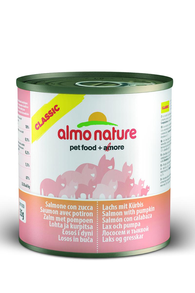 Консервы Almo Nature Classic для кошек, с лососем и тыквой, 280 г20070Консервы Almo Nature - супер-премиум корм для кошек, в банках, сохраняющих свежесть каждого кусочка. Корм изготовлен только из свежих высококачественных натуральных ингредиентов, что обеспечивает здоровьевашей кошки. Не содержит ГМО, антибиотиков, химических добавок, консервантов и красителей.Состав: филе лосося - мин. 38%, тыква - мин. 12%, рыбный бульон, рис - 3%.Гарантированный анализ: белки - 10%, клетчатка - 0,1%, жиры - 0,2%, зола - 1,5%, влажность - 87%.Товар сертифицирован.
