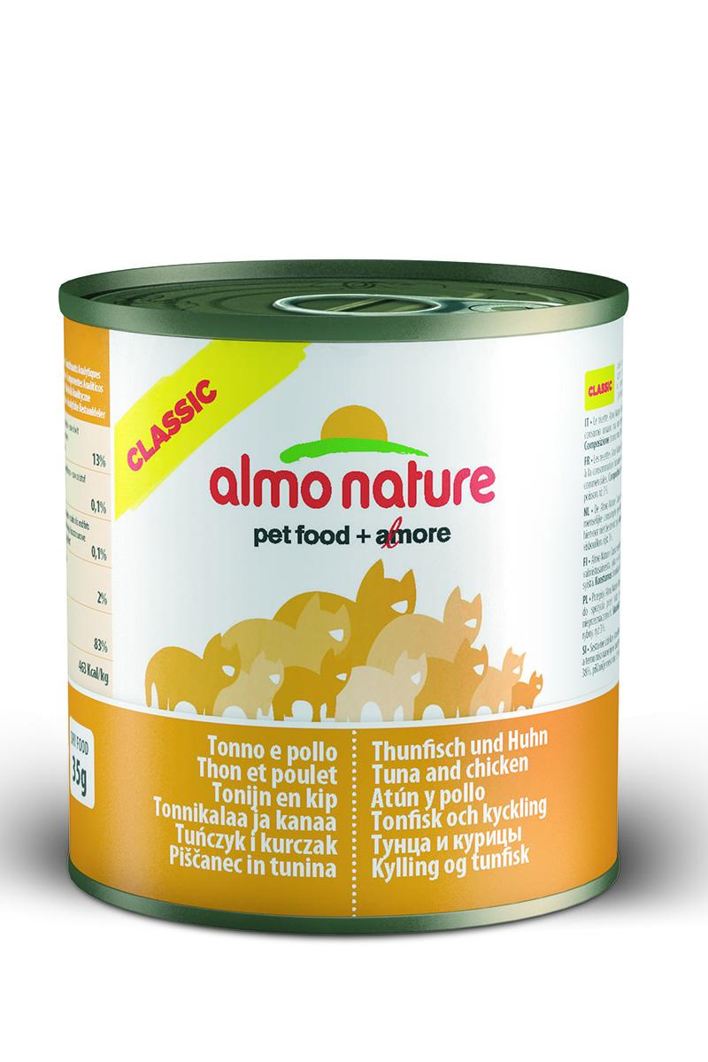 Консервы для кошек Almo Natureс Classic, с тунцом и курицей, 280 г0120710Консервы Almo Nature Classic - сбалансированный влажный корм для кошек, изготовленный из ингредиентов высшего качества, являющихся натуральными источниками витаминов и питательных веществ. Состав: куриное филе 50%, рыбный бульон 42%, тунец 5%, рис 3%.Гарантированный анализ: белок - 14%, клетчатка- 0,5%, жиры - 0,5%, зола - 2%, влажность -83%.Калорийность - 530 ккал/кг.Товар сертифицирован.