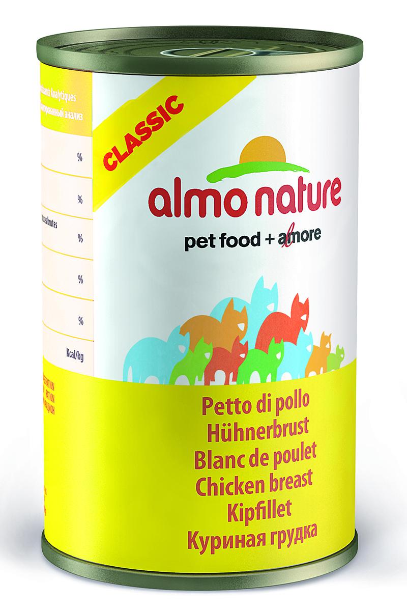 Консервы для Кошек Куриная грудка (Classic Adult Cat Chicken Breast), 140 г.0120710Состав: куриное филе 55%, куриный бульон 42%, рис 3%. Пищевая ценность: белки 16%, клетчатка 0.1%, масла и жиры 0.3%, зола 1.4%, влажность 83%. Калорийность 585 ккал/кг.