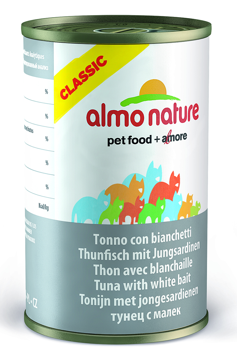 Консервы для кошек Almo Natureс Classic, с тунцом и сардинками, 140 г10134Консервы Almo Nature Classic - сбалансированный влажный корм для кошек, изготовленный из ингредиентов высшего качества, являющихся натуральными источниками витаминов и питательных веществ. Состав: филе тунца 38%, рыбный бульон 47%, сардины 12%, рис 3%.Гарантированный анализ: белок – 14%, клетчатка- 0,5%, жиры – 0,5%, зола – 2%, влажность - 83%.Калорийность – 530 ккал/кг.Товар сертифицирован.