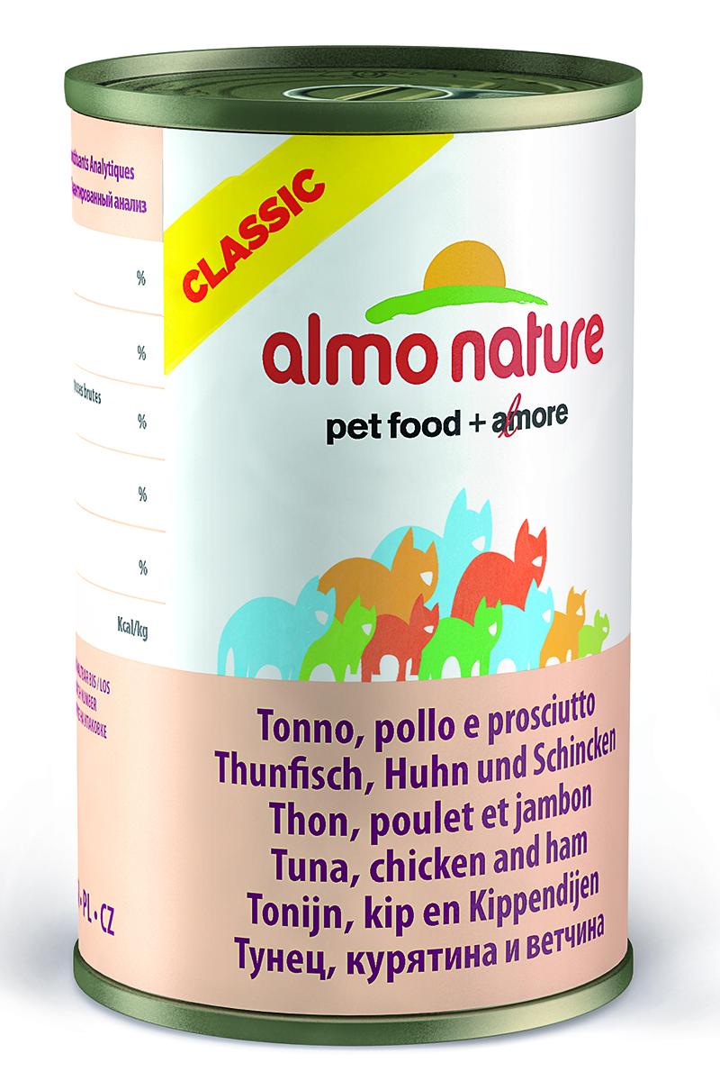 Консервы Almo Nature Classic для кошек, с тунцом, курицей и ветчиной, 140 г0120710Консервы Almo Nature - супер-премиум корм для кошек, в банках, сохраняющих свежесть каждого кусочка. Корм изготовлен только из свежих высококачественных натуральных ингредиентов, что обеспечивает здоровьевашей кошки. Не содержит ГМО, антибиотиков, химических добавок, консервантов и красителей.Товар сертифицирован.