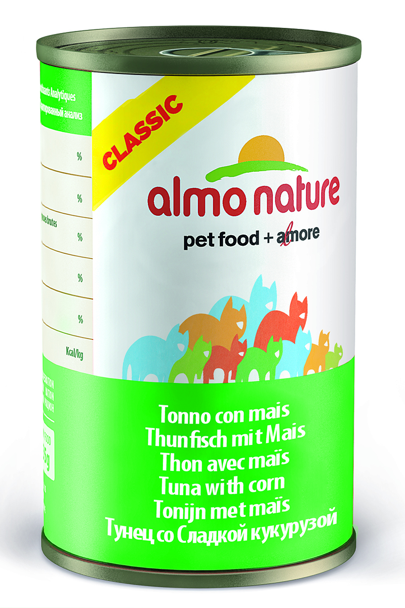 Консервы для кошек Almo Natureс Classic, с тунцом и кукурузой, 140 г0120710Консервы Almo Nature Classic - сбалансированный влажный корм для кошек, изготовленный из ингредиентов высшего качества, являющихся натуральными источниками витаминов и питательных веществ. Состав: тунец 50%, рыбный бульон 42%, маис 5%, рис 3%.Гарантированный анализ: белки 12%, клетчатка 0.1%, масла и жиры 0.3%, зола 1.4%, влажность 83%. Калорийность: 450 ккал/кг.Товар сертифицирован.