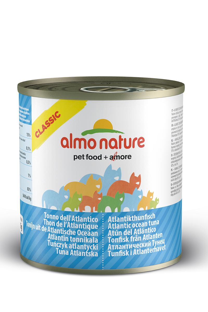 Консервы для кошек Almo Natureс Classic, с атлантическим тунцом, 280 г0120710Консервы Almo Nature Classic - сбалансированный влажный корм для кошек, изготовленный из ингредиентов высшего качества, являющихся натуральными источниками витаминов и питательных веществ. Состав: атлантический тунец 55%, рыбный бульон 42%, рис 3%. Пищевая ценность: белки 15%, клетчатка 0.1%, масла и жиры 0.5%, зола 1%, влажность 83%. Калорийность: 560 ккал/кг.Товар сертифицирован.