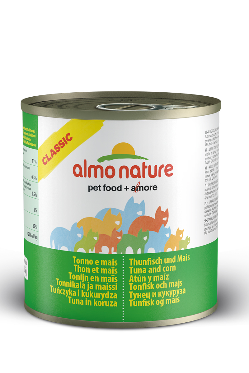 Консервы для кошек с Тунцом и кукурузой (Classic Tuna and Corn), 280 г.12171996Консервы Almo Nature Classic - сбалансированный влажный корм для кошек, изготовленный из ингредиентов высшего качества, являющихся натуральными источниками витаминов и питательных веществ. Состав: тунец 50%, рыбный бульон 42%, маис 5%, рис 3%.Гарантированный анализ: белки 12%, клетчатка 0.1%, масла и жиры 0.3%, зола 1.4%, влажность 83%. Калорийность: 450 ккал/кг.Товар сертифицирован.