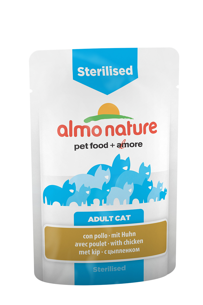 Консервы Almo Nature Functional Line для кастрированных котов и стерилизованных кошек, с цыпленком, 70 г20339Консервы Almo Nature Functional Line - специализированная линейка кормов, разработанная с учетом индивидуальных особенностей кошек.Sterilised - идеальный диетический корм для кастрированных котов и стерилизованных кошек. Состав: мясо и его производные (курица 4%), рыба и ее производные, производные растительного происхождения, экстракт растительного белка, минералы. Добавки: витамин D3 325 IU/кг, витамин E 32 мг/кг, витамин B1 2,5 мг/кг, витамин C 101 мг/кг, E2 (Иодин) 0,2 мг/кг, E4 (Медь) 0,5 мг/кг, E5 (марганец) 1 мг/кг, E6 (Цинк) 16 мг/кг, биотин 0,015 мг/кг, таурин 0,237 g/kg; технологические добавки: камедь кассии 134 мг/кг. Пищевая ценность: белки 9%, клетчатка 0,8%, масла и жиры 4%, зола 3%, влажность 82%. Калорийность: 768 ккал/кг.Товар сертифицирован.