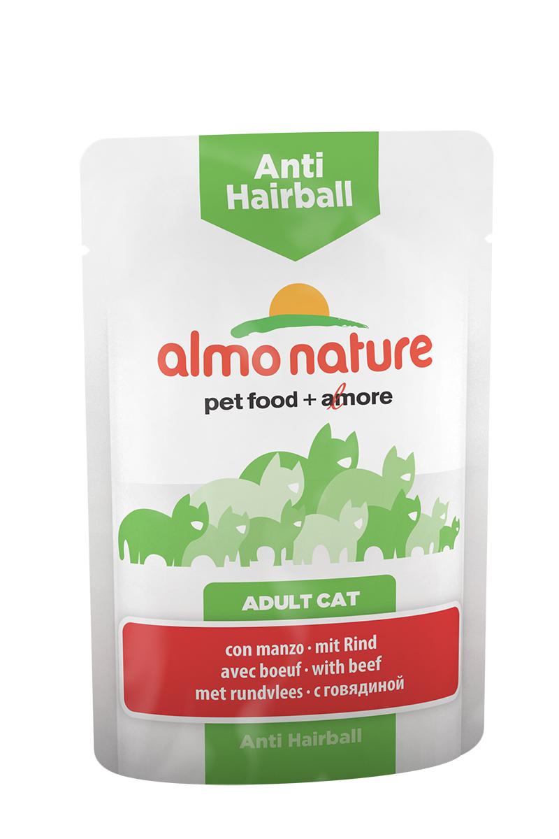 Консервы для кошек Almo Nature Functional Line, для вывода шерсти, с говядиной, 70 г20356Консервы для кошек Almo Nature Functional Line - специализированная линейка кормов, разработанная с учетом индивидуальных особенностей кошек.Anti hairball - это специально разработанный функциональным сухой корм для взрослых кошек. Содержит растительные волокна, которые имеют профилактический эффект против возникновения комков шерсти в кишечнике и облегчает их прохождение через пищеварительный тракт. Состав: мясо и его производные (говядина 4%), злаки, экстракт растительного белка, производные растительного происхождения (инулин 0,1%), минералы. Добавки: витамин D3 - 315 IU/кг, витамин E - 74 мг/кг, витамин B1 - 2 мг/кг, E2 (Иодин) - 197 мг/кг, E4 (Медь) - 1 мг/кг, E5 (марганец) - 2 мг/кг, E6 (Цинк) - 16 мг/кг, таурин - 230 мг/кг; технологические добавки: камедь кассии - 562 мг/кг. Пищевая ценность: белки - 9%, клетчатка - 1,5%, масла и жиры - 4%, зола - 3%, влажность - 82%. Калорийность: 740 ккал/кг.Товар сертифицирован.