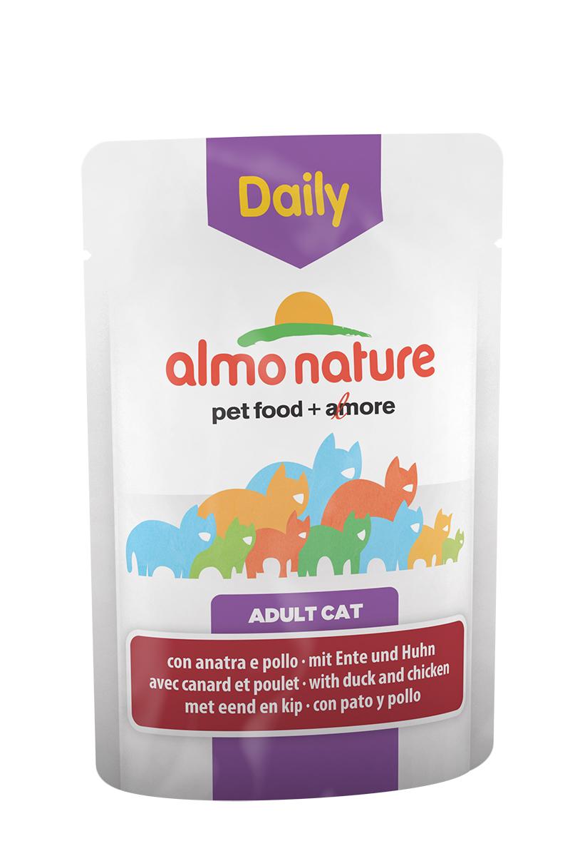 Консервы для кошек Almo Nature Daily Menu, с курицей и уткой, 70 г0120710Консервы Almo Nature Daily Menu - это супер-премиум корм для кошек. Корм изготовлен только из свежих высококачественных натуральных ингредиентов, что обеспечивает здоровье вашей кошки. Не содержит химических, или каких-либо других искусственных ингредиентов.Состав: мясо и его производные (утка 4%, курица 4%), экстракт растительного белка, производные растительного происхождения, минералы. Добавки: витамин D3 - 303 IU/кг, витамин E - 29 мг/кг, витамин B1 - 2 мг/кг, E2 (Иодин) - 189 мг/кг, E4 (Медь) - 0,54 мг/кг, E5 (марганец) - 1 мг/кг, E6 (Цинк) - 14 мг/кг, таурин - 221 мг/кг; технологические добавки: камедь кассии - 599 мг/кг. Пищевая ценность: белки 9%, клетчатка 0,8%, масла и жиры 5%, зола 3%, влажность 82%. Калорийность: 818 ккал/кг.Товар сертифицирован.
