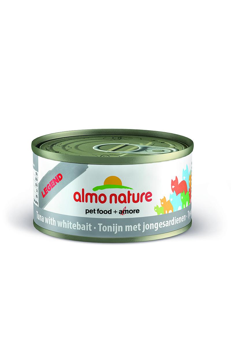 Консервы Almo Nature Legend для кошек, с мальками тунца, 70 г0120710Консервы Almo Nature - супер-премиум корм для кошек, в банках, сохраняющих свежесть каждого кусочка. Корм изготовлен только из свежих высококачественных натуральных ингредиентов, что обеспечивает здоровьевашей кошки. Не содержит ГМО, антибиотиков, химических добавок, консервантов и красителей.Состав: тунец - 70%, рыбный бульон - 24%, сардины - 5%, рис - 1%.Гарантированный анализ: белки - 17%, клетчатка - 0,1%, жиры - 2%, зола - 2%, влажность - 75%.Товар сертифицирован.