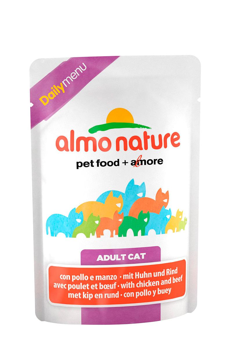 Консервы для взрослых кошек Almo Nature Daily, с курицей и говядиной, 70 г20040Консервы Almo Nature Daily - это корм, рекомендованный взрослым кошкам. Угощениеизготавливается из свежих и натуральных ингредиентов, которые были упакованы сырыми, затем стерилизованы, чтобы сохранить питательные вещества и вкус. Ваш питомец будет в полном восторге.Не содержит сои, консервантов, ароматизаторов, искусственных красителей, усилителей вкуса.Состав: курица >13%, говядина >4%, морская рыба >6%, тунец >4%, кукурузный глютен, яйца, морковь -1,6%, горох - 1,6%, рис - 1,4%.Гарантированный анализ: белки – 11%, клетчатка - 1%, жиры - 3%, зола - 3%, влажность – 80%.Товар сертифицирован.