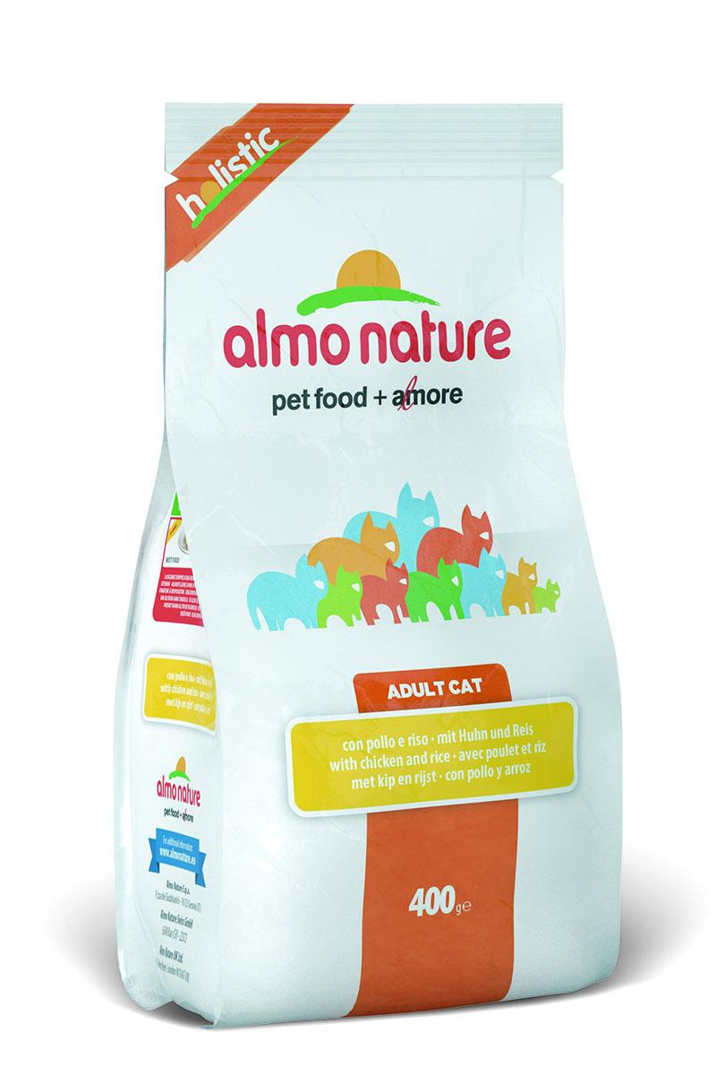 Корм сухой Almo Nature Holistic для взрослых кошек, с курицей и коричневым рисом, 400 г25039Полнорационный корм Almo Nature Holistic рекомендован для взрослых кошек. Корм содержит большой процент свежего мяса, что обеспечивает необходимым количеством питательных веществ и оптимальным содержанием протеина. Прекрасный вкус обеспечивается за счет свежих натуральных ингредиентов. Не содержит искусственных добавок, красителей, ароматизаторов, консервантов. Состав: мясо курицы и ее производные 56% (из которых 26% свежего мяса, 30% дегидрированного мяса), злаки (рис 14%, ячмень), растительный протеиносодержащий экстракт, жиры, минералы, маннанолигосахариды, фруктоолигосахариды.Пищевые добавки: таурин 1170 мг/кг, DL - метионин 1120 мг/кг, витамин А 3760 МЕ/кг, витамин D3 2275 МЕ/кг, витамин Е 210 мг/кг.Микроэлементы: йодат кальция, безводный 1,64 мг/кг, селенит натрия 0,53 мг/кг, сульфат железа моногидрат 321мг/кг, сульфат меди пентогидрат 42 мг/кг, аминокислотный-меди хелат, гидрат 53 мг/кг, аминокислотный-цинка хелат, гидрат 356 мг/кг, сульфат марганца моногидрат 117 мг/кг, сульфат цинка моногидрат 296 мг/кг, аминокислотный-железа хелат, гидрат 21 мг/кг.Гарантированный анализ: белки - 31%, клетчатка - 1,5%, жиры - 15%, зола - 7,5%, влажность - 7%.Калорийность: 3690 ккал/кг.Товар сертифицирован.Уважаемые клиенты! Обращаем ваше внимание на возможные изменения в дизайне упаковки. Качественные характеристики товара остаются неизменными. Поставка осуществляется в зависимости от наличия на складе.