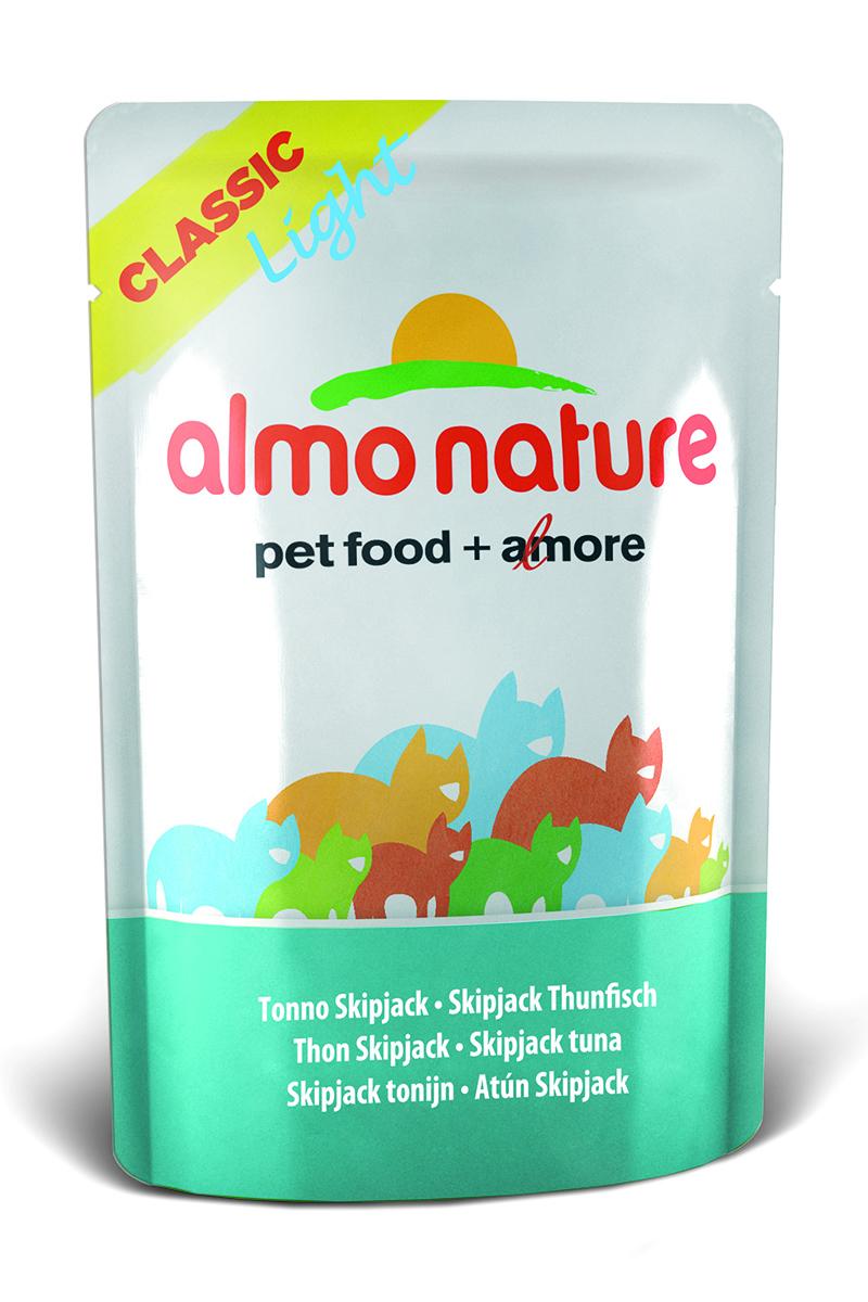 Консервы Almo Nature Classic Light для кастрированных котов и стерилизованных кошек, с полосатым тунцом, 55 г0120710Консервы Almo Nature- идеальный диетический корм для кастрированных котов и стерилизованных кошек.Состав: бульон 50%, филе полосатого тунца 47%, рис 3%. Пищевая ценность: белки - 12%, клетчатка - 0,1%, жиры - 0,2%, влага - 85%.Калорийность: 437 ккал/кг.Товар сертифицирован.