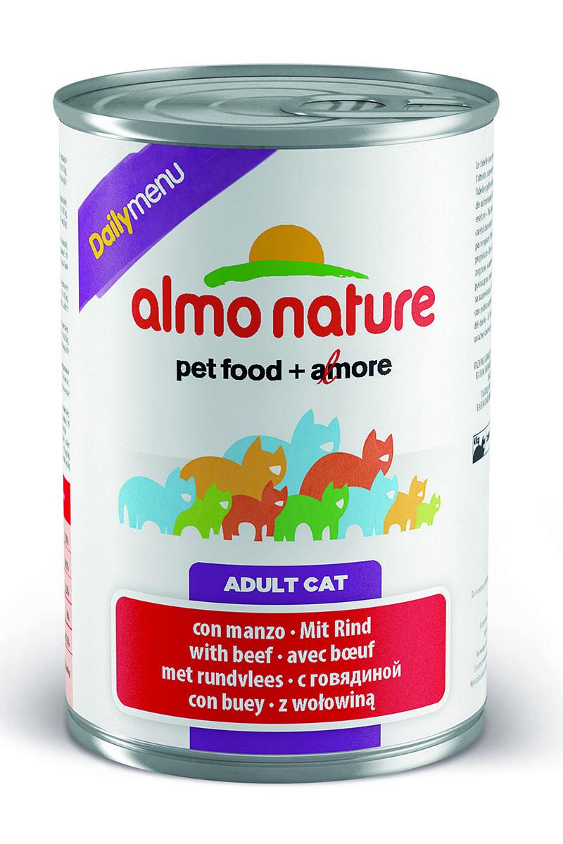 Консервы для кошек Almo Nature Daily Menu, с говядиной, 400 г0120710Консервы Almo Nature Daily Menu - это супер-премиум корм для кошек в банке с ключом, которая сохраняет свежесть каждого кусочка. Корм изготовлен только из свежих высококачественных натуральных ингредиентов, что обеспечивает здоровье вашей кошки. Не содержит химических, или каких-либо других искусственных ингредиентов.Состав: мясо и его производные, яйца, минералы, сахар.Пищевые добавки: витамин А - 1415 МЕ/кг, витамин D3 - 3150 МЕ/кг, витамин Е - 3,2 мг/кг, сульфат меди пентагидрат - 3,2 мг/кг (CU 0.8 мг/кг), камедь кассии - 3000 мг/кг.Гарантированные анализ: белки - 7,5%, клетчатка - 0,1%, жиры - 5,5%, зола - 3%, влага - 81,5%.Калорийность - 814 ккал/кг.Товар сертифицирован.