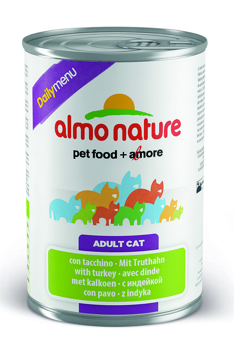 Консервы для кошек Almo Nature Daily Menu, с индейкой, 400 г0120710Консервы Almo Nature Daily Menu - это супер-премиум корм для кошек в банке с ключом, которая сохраняет свежесть каждого кусочка. Корм изготовлен только из свежих высококачественных натуральных ингредиентов, что обеспечивает здоровье вашей кошки. Не содержит химических, или каких-либо других искусственных ингредиентов.Состав: мясо и его производные, яйца, минералы, сахар.Пищевые добавки: витамин А - 1415 МЕ/кг, витамин D3 - 3150 МЕ/кг, витамин Е - 3,2 мг/кг, сульфат меди пентагидрат - 3,2 мг/кг (CU 0.8 мг/кг), камедь кассии - 3000 мг/кг.Гарантированные анализ: белки - 7,5%, клетчатка - 0,1%, жиры - 5,5%, зола - 3%, влага - 81,5%.Калорийность - 814 ккал/кг.Товар сертифицирован.