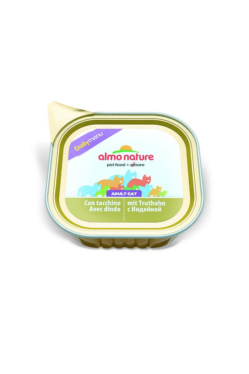 Консервы для кошек Almo Nature Daily Menu, паштет, с индейкой, 100 г20347Консервы Almo Nature Daily Menu - сбалансированный влажный корм для кошек, изготовленный из ингредиентов высшего качества, являющихся натуральными источниками витаминов и питательных веществ. Состав: мясо и его производные (индейка 4%), минералы, сахар. Пищевые добавки: витамин D3 – 236 МЕ/кг, витамин Е – 136 МЕ/кг, экстракт кассия – 7957 мг/кг. Гарантированный анализ: белки – 10%, клетчатка – 0,8%, жиры – 5%, зола – 2,5%, влага – 81%.Калорийность: 878 ккал/кг.Товар сертифицирован.